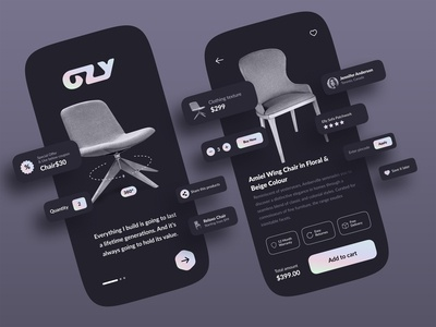 Chair Dark🌒 uerinterface productdesign typogaphy branding logo buy dribbbler darkmode dark ui darktheme dark userinterface uxui mobileapp mobile website web online shopping online ecommerce