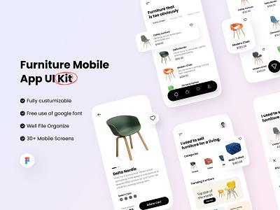 Furniture UI Kit - Sale $30 furniture sale templete uiux app components figma userinterface clean minimalist uikit mobileapp moblie interface ui