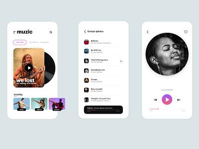 muzic mobile app UI interaction animation userinterface userexperience uxdesign clean ui mobile app design mobile apps love arts music app
