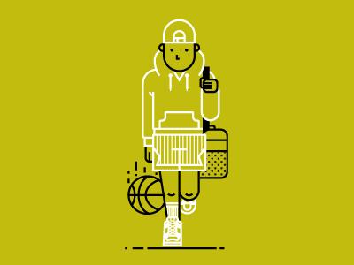 Basketball Everyday nba basketball ball walking sports duffle sneakers hat icon illustration hoodie shorts