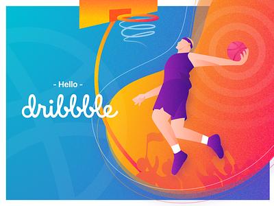 Dribbble First Shot slamdunk dunk basketball ball first shot illustration