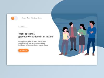 Daily UI - Teamwork teamwork team landing page daily ui illustration ui design branding visual designer visual design ux designer app design ux ui