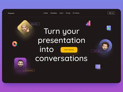 Online presentation service hero screen presentation web design 3d ui