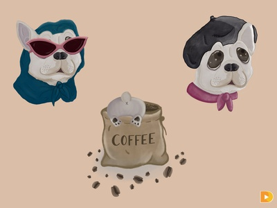 French Bulldog Illustrations digital illustration illustration
