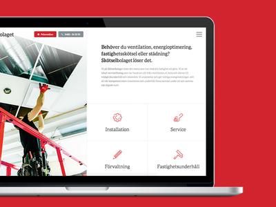 Skötselbolaget design web design navigation icons simple responsive website