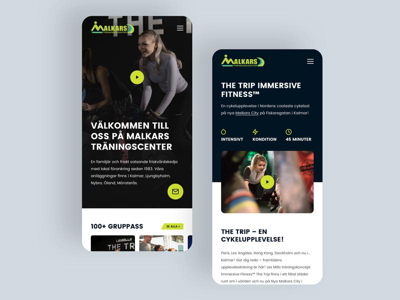 Malkars - Workouts gym fitness mobile dark web design