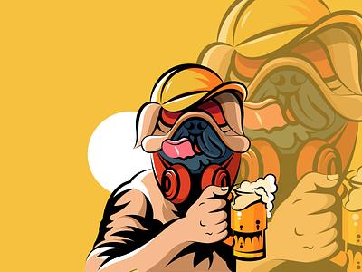 Pug beer illustration cartoon dog pub beer pug design minimalist logo creative logo brand identity icon design illustration professional logo branding logo motion graphics graphic design 3d animation ui