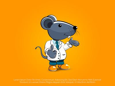 Dr.Nerdy lab cute logo nerdy rat doctor mascot cartoon design minimalist logo creative logo brand identity illustration icon design professional logo logo branding motion graphics graphic design 3d animation ui