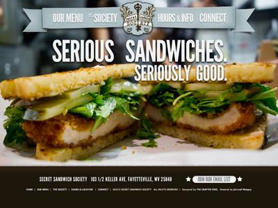 Secret Sandwich Society launched league gothic website launch banner sandwiches user interface