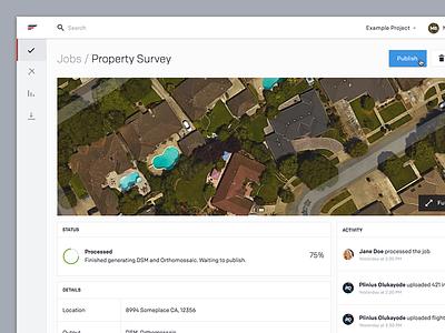 Commercial drone cloud app nav side status activity web app cloud uav drones