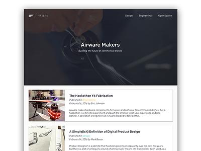 Airware Makers Blog! enterprise uav drone web cards blog