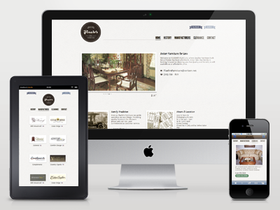 It's done! Fluehr's Furniture is live. responsive web mobile furniture store kindle iphone imac