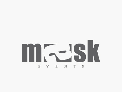 Mask with letter a typography lettering typeface mask a letter design impact logo type masque lettre a event evenement negative space espace negatif