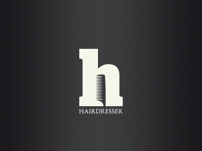 Hairdresser logo design hairdresser hair comb typeface typography letter h h salon coiffure lettre peigne coiffeur cheveux lettering negative space espace negatif