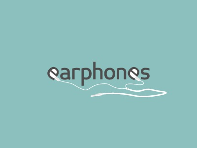 Earphones earphones headphones casque ecouteurs sound son logo design typography typographie iphone ear oreille negative space espace negatif