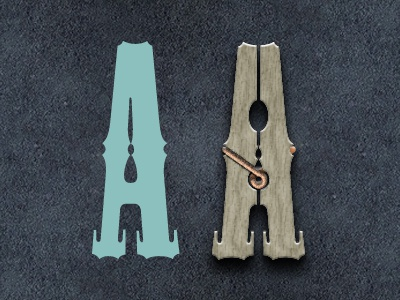 Clothespin | Playing With Type playing jouer lettre a letter clothespin epingle typeface typography typographie design mesquite standart font linge clothes lettering alphabet standard logo