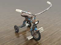 Tricycle texture rendering bike tricycle c4d cinema 4d 3d modeling vintage retro kid rust realistic toy pedal handlebar wheel transportation vehicle metal blue cinema4d tire