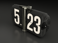 Flip Clock white countdown clock retro vintage icon 3d c4d cinema 4d modeling rendering 2 3 realistic hour black metal reflection flip spin rotate turn 5 five minute light plastic cinema4d flipclock number