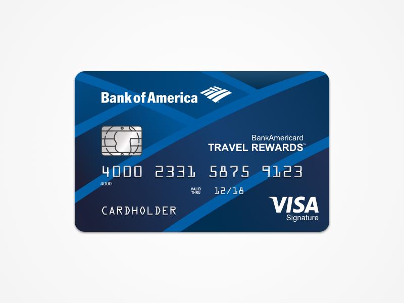 Bank of America: Travel Rewards bank of america card template sketch credit card