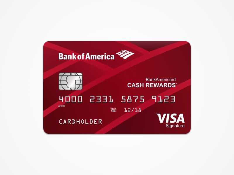 Bank of America: Cash Rewards credit card sketch template card bank of america
