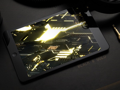 Black & Gold Technology Mainboard mainboard gold black glow c4d octane technology tech