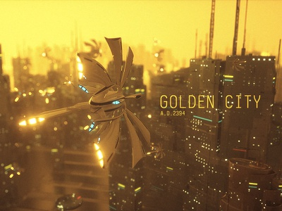 Golden City building urban city gold c4d octane