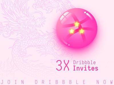 3x dribbble invites dragon ball 3 invite star ball dragon illustraion giveaway draft invitations invitation invites invite