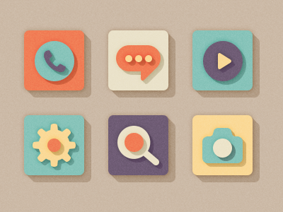 Squares icons style flat shadow colors