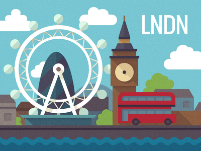 LNDN london britain england uk flat flatui color colors bigben illustration bus landscape city