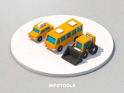 Infotools infographics tools car bus bulldozer 3d