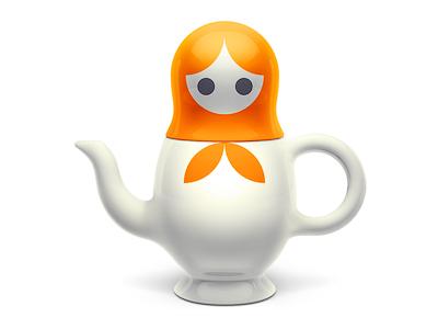 Matreshka Teapot matreshka orange teapot 3d clear simple