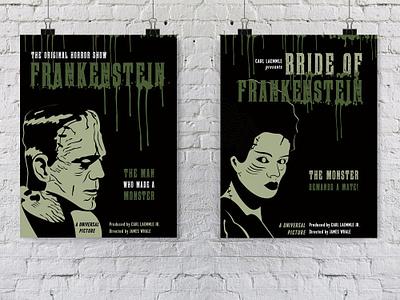 Frankenstein Movie Posters zombie vector art poster design classic horror horror films mary shelley bride of frankenstein frankenstein