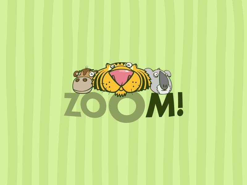 zOOm fisheye zoom zoo cartoon art animals vector logo branding illustration design