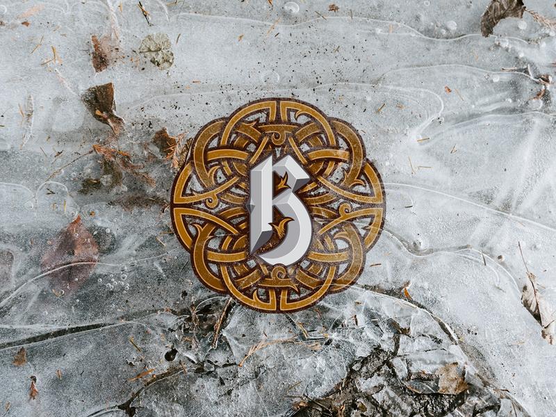 Typographic Beer Labels     Letter B ornament ice celtic letter art typography vector illustration design logo branding