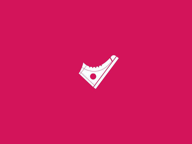 Sneakers Pin     Sign pink sneakers pin sign art vector logo branding illustration design