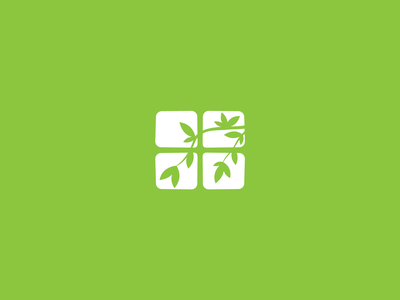 Logo Design | Window leaf green foliage tree window flat icon minimal vector art logo branding illustration design
