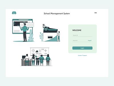 School management system illustration login login design login screen login page ui school management system school management schools school web app website webdesign