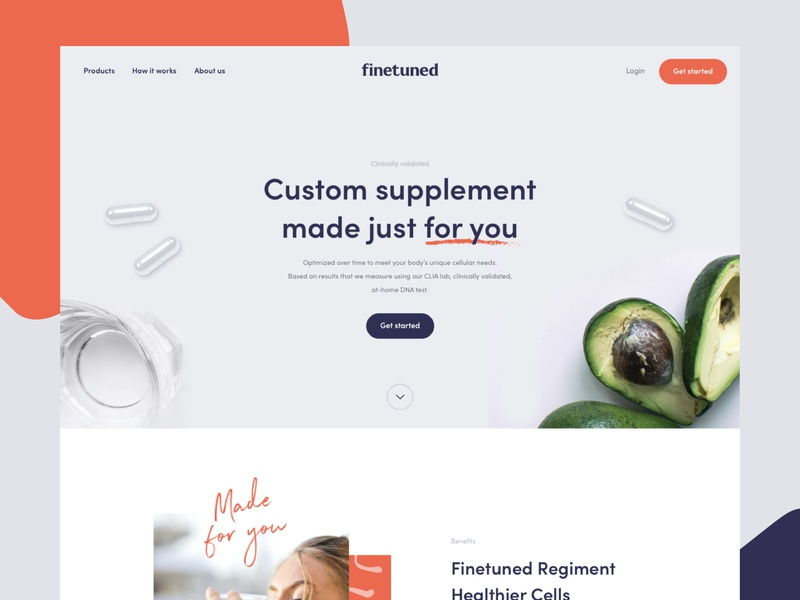 Finetuned Homepage typography branding website ui flat interface webdesign clean homepage design