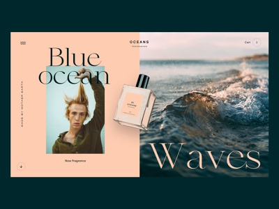 Oceans Fragrances fragrances pastel website concept ui interface webdesign homepage design