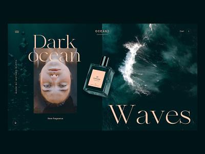 Oceans Fragrances fragrance website concept ui interface webdesign clean homepage design
