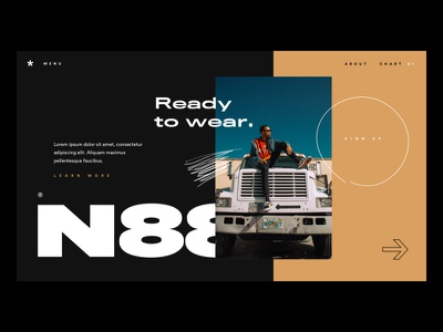 N88 experience typography fashion black branding website concept ui flat interface webdesign clean homepage design