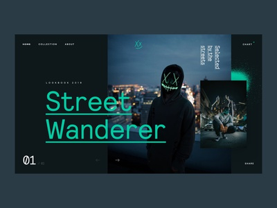 Street Wanderer streets branding concept neon ui flat interface webdesign homepage design