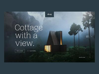 Skog Cottages animated gif uxdesign uidesign font nature hotel webdesign intro homepage