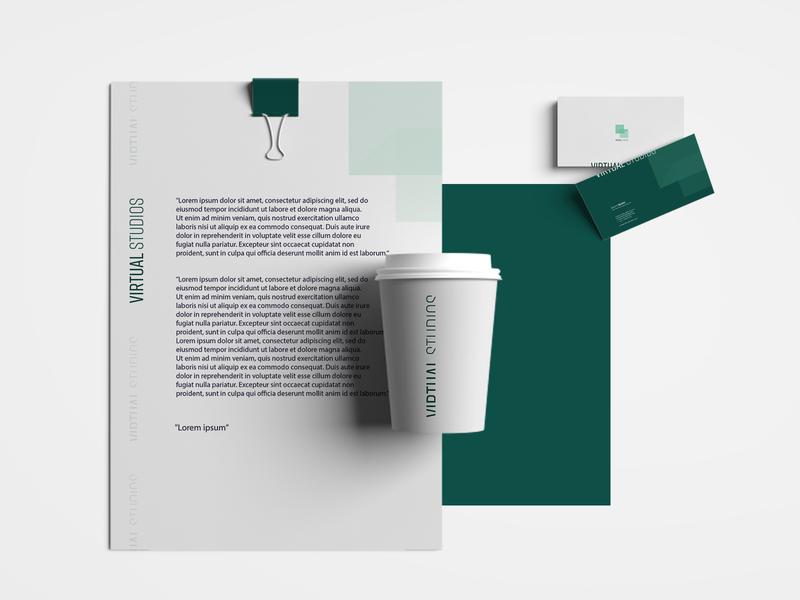 Virtual Studios, Branding Design businesscard print designstudio logo green minimal letter logodesign idea concept typography rebrand identity graphic design branding