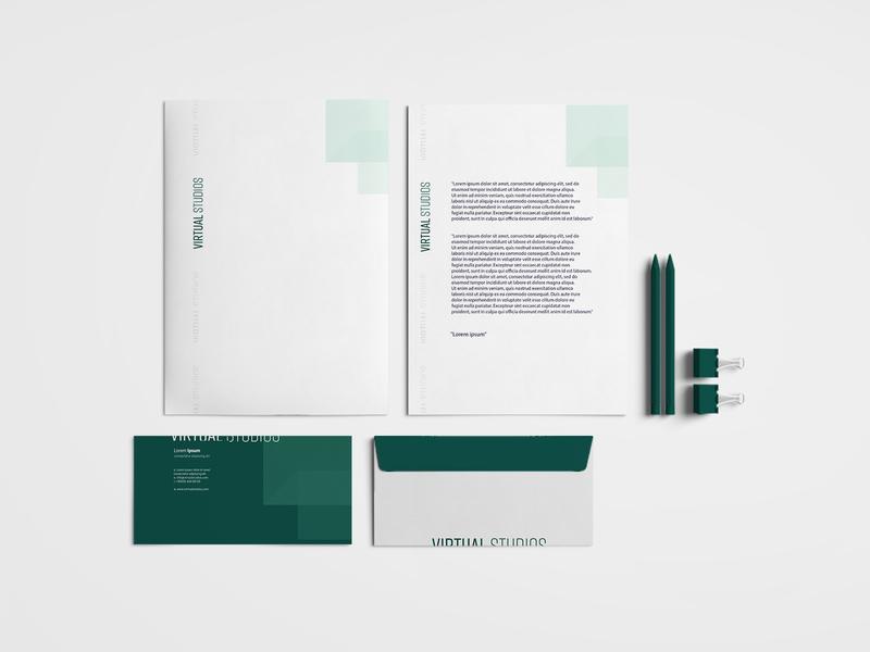 Virtual Studios, Branding Design logo corporate design print design mint green modern minimal logodesign flat idea concept typography rebrand identity graphic design branding
