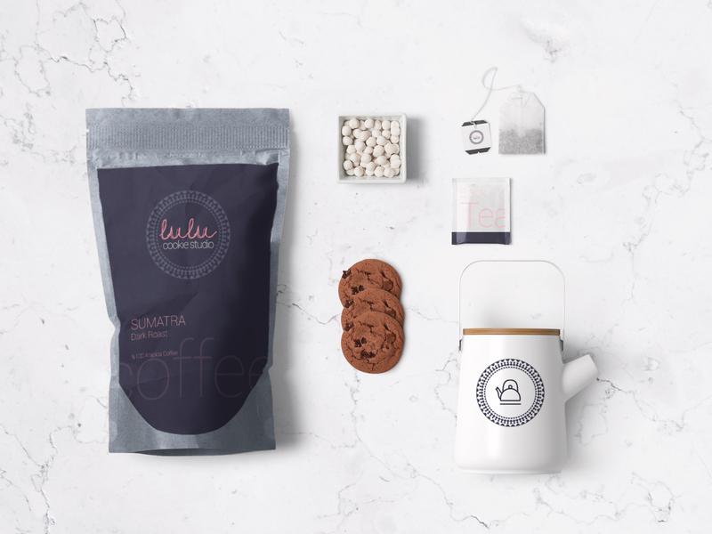 Lulu Cookie Studio Branding cookie studio logotype graphic design corporate teapot roaster bakery minimal logo flat idea rebrand concept typography identity logodesign branding graphic design