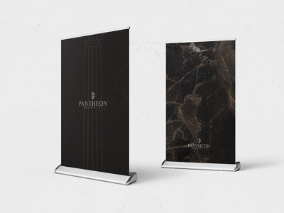 Pantheon Marble Branding, Rollup Design texture outdoor brown logo marble design rollup print idea logodesign modern rebrand concept typography identity branding graphic design