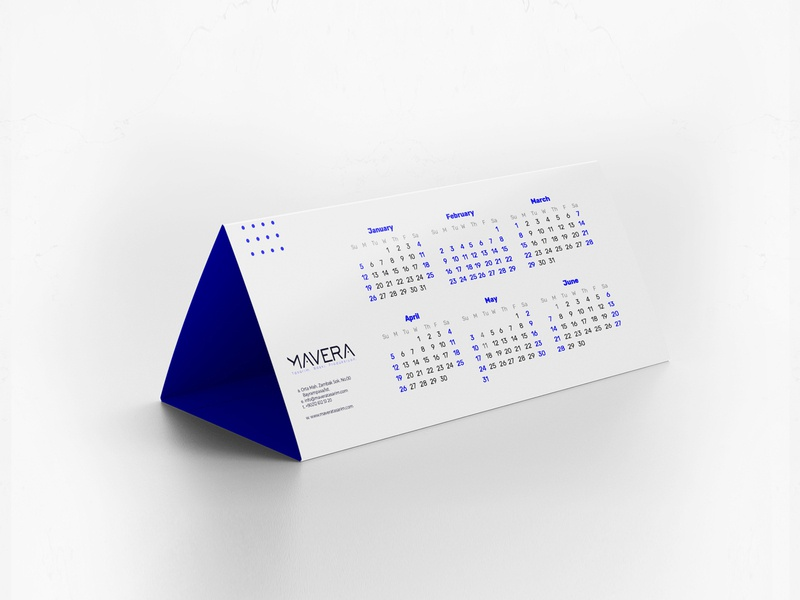 Mavera Rebrand Design - Calendar dots blue white clean minimal design print table calendar graphicdesign minimal typography concept idea rebrand logodesign identity branding graphic design calendar