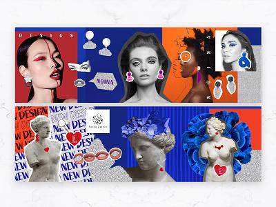 Noina - Web Banner Design modern bold illustration vector accessories idea concept graphic design coloful fun unique minimal rebrand web banner typography branding graphic design