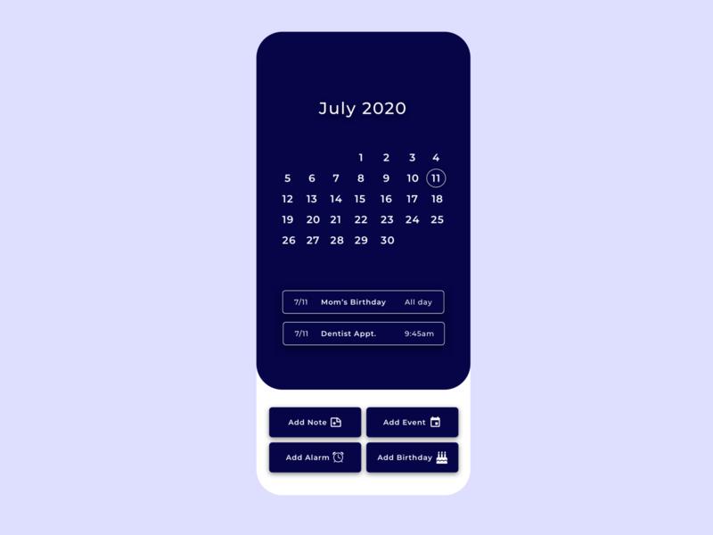 Daily UI Challenge #38 Calendar july calendar dailyui038 ux app ui typography design dailyui